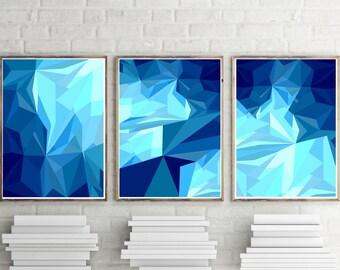 Set of 3 Prints Blue Triangle Print Set Prints Blue Geometric Print Navy Blue Geometric Blue Wall Print Geometric Art Prints 24x36 Print