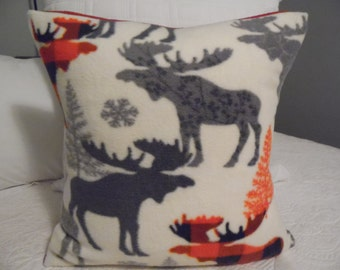 MOOSE FLEECE. 18 x 18 Home Decor Trees.Red.Charcoal.Gray.Soft.Pillow Cover.Slip Cover.Rustic.Country.Cabin.Holiday Decor. Moose.