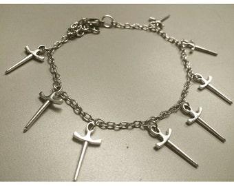 Sword charm bracelet, sword bracelet, sword jewelry, sword charms
