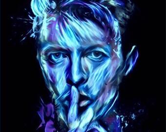 DAVID BOWIE Purple Blue Haze Canvas Wall Art