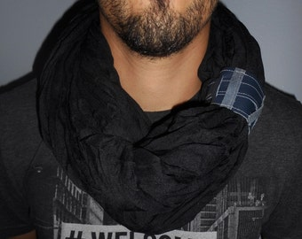 Snood, Arabic scarf black tricky modern man and crossing leather.