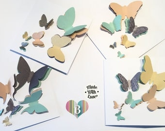 3D Butterfly Greeting Card Set, Handmade Greeting Cards, White And Pastel