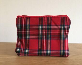 Red Tartan print christmas zipper bag | Stocking filler | Make up | Toiletries