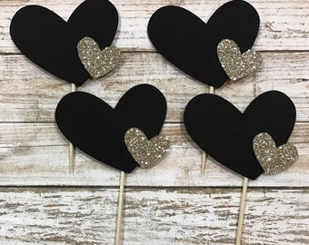 24 Double Heart Cupcake Toppers