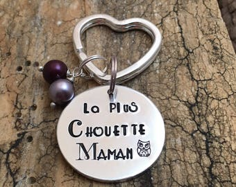 Hand Stamped Maman Present, French Personalised Message Keyring, Gift for Maman