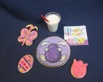 EASTER/SPRING COOKIES / glass of  milk / plate / napkin for 18 inch Doll/American Girl doll.  18 inch doll food  18 inch doll accessories