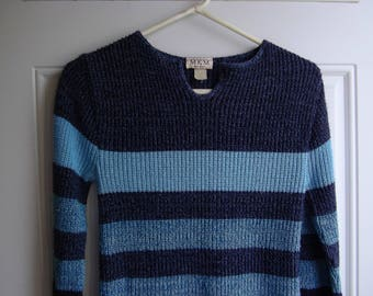 Blue Striped Pullover Sweater by MKM Designs, Size Medium