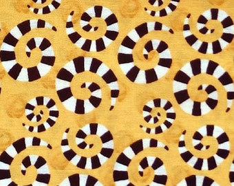 In The Beginning Hoopla And Everyday Fun - swirly spiral design polka dot fabric by Jennifer Heynen - Yellow - Per 1/2 metre - 100% Cotton