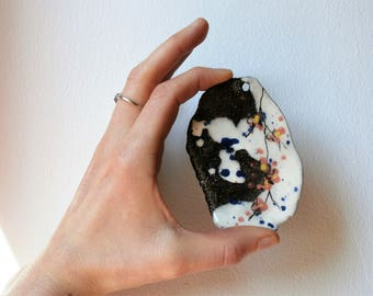 Big sakura for, black white, pink japanese cherry flowers, blue task, rustic, asiatic, zen, handmade, ceramic and pottery during