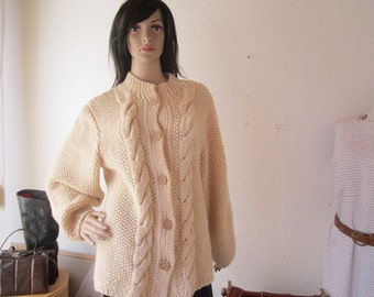 Vintage hand knitted Cardigan wool jacket Cardigan wool S / M