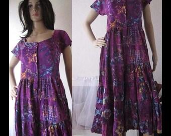 Vintage 80s batik dress stepped dress ethnic dress Bali robe Onesize