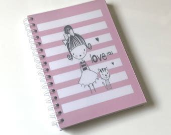 A5 Cute Notebook with Lined Paper - 80 double sided pages - 120gsm paper