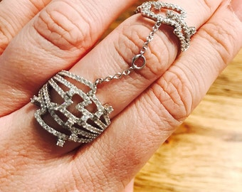 Cubic Zirconia Full Finger Silver Statement Ring