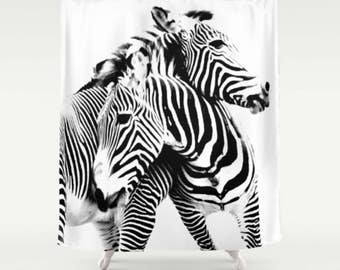 Black and White Shower Curtain, Zebra Shower Curtain Black & White Bathroom Decor Zebra Print Bath Set Striped Shower Curtain Zebra Bath Mat