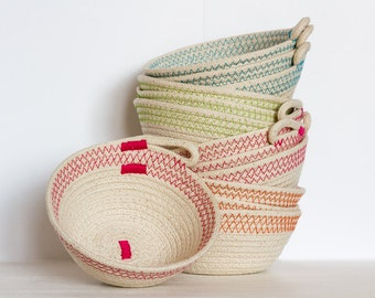 Small Cotton Rope Bowl, Coil Bowl, Round Bowl, Coloured Stitching