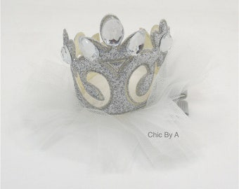 Silver Glitter Princess Crown Hair Clip,Crown Clippie, Crown Clip, Crown Bow, Princess Crown, Princess Hair Clip, Princess Clip
