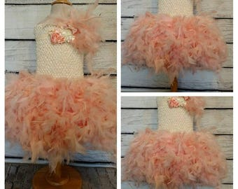 Blush flower girl tutu dress,blush feather flower girl dress,birthday tutu dress,first birthday tutu dress,vintage blush flower girl dress