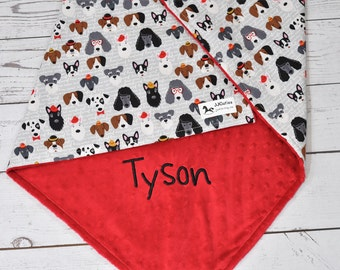 Personalized Pet dog baby minky blanket-Canines minky baby blanket-white doggie baby blanket-dog blanket-newborn blanket-receiving blanket