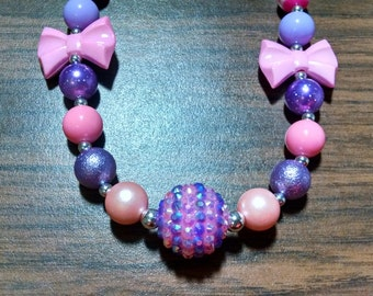 Valentine's Day Chunky Bubblegum Gumball Necklace.  12mm pink and purple