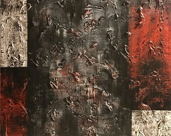 Heavy textured abstract red black white 36x36x1.5