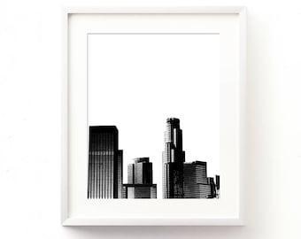 LA art print, Los Angeles printable, California artwork, Los Angeles skyline, downtown LA print, black decor, digital file, city print