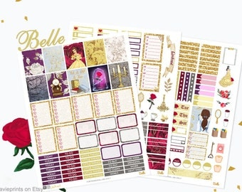 Printable Planner Stickers, Beauty, Beast, Belle Weekly Kit, Planner girl, gold, red, gothic, use with Erin condren, glitter, glam, magical