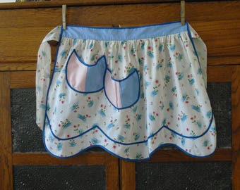 Vintage Pink and Blue Floral Print Half Apron with Blue Trim, Tulip Pockets, Gathered Waist, Kitchen Cooking Apron, Country Farmhouse Chic
