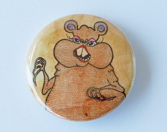 Hamster Badge, Illustrated 38mm Button Pin Badge, Hetty Hamster
