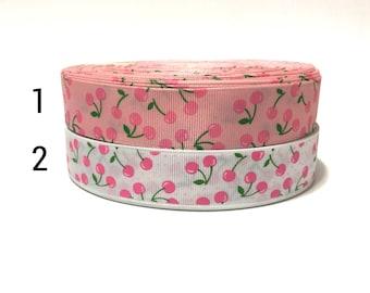 """1"""" Cherry Ribbon, Cherries Ribbon, Cherries Grosgrain Ribbon, Fruits Ribbon, Craft Ribbon, ribbon for bows"""