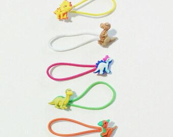 mixed dinosaur hair ties ponytail elastics *set of 5*