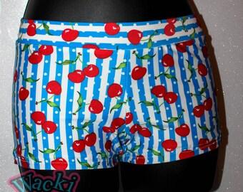 Retro - Stripes Dots and Cherries - Wacki Shorts  - Cheer, Gymnastics, Yoga, Dance, Hooping