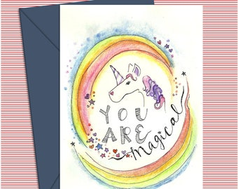 Unicorn Card  You Are Magical, Rainbow Greeting Card, Instant Download