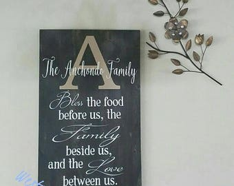 Personalized Bless This Food Prayer - Family Name - Christian Wall Art - Kitchen - Dining Room Art - Prayer - Religious Wall Art - Wood Sign