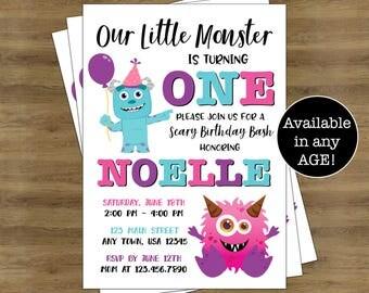 Monster Invitations; Little Monster 1st Birthday Invitation; Monster First Birthday Invitation; Little Monster Birthday Invitations