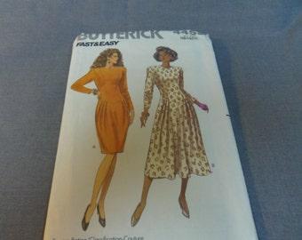 Womans Semi-Fitted Dress Size 12, 14, 16 Uncut Pattern, Butterick 4453