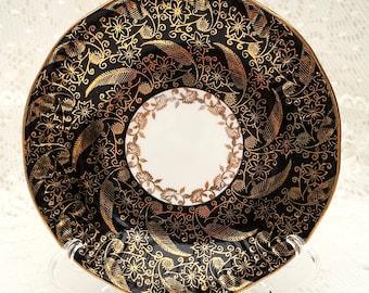 Elizabethan Sovereign Black Gold Chintz Tea Cup Saucer. Vintage England