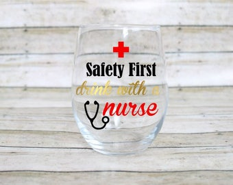 Nurse Wine Glass - RN Wine Glass - Nurse Appreciation Gift - Stemless Wine Glass - Registered Nurse - RPN - Free Personalization