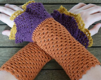 CROCHET WRIST WARMERS Fingerless Gloves Mitts - Handcrafted Double Cuffed  -   Made Entirely With Love & A Little Wool -  Beautiful !