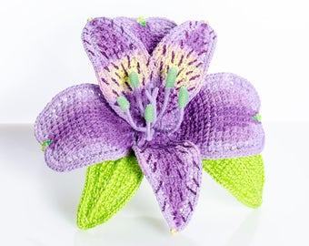 Crochet brooch Alstroemeria  Crochet Flower Brooch Crochet Jewelry Crochet Gifts For Her Brooch Flower Women's Gift Handmade Crochet