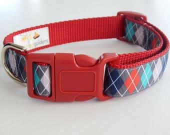 Argyle Dog Collar, Multicolor Dog Collar, Adjustable Dog Collar, Boy Dog Collar