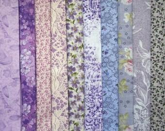 Assorted Shabby Chic Purple Fabric - Fat Quarter Bundle - 10 pieces