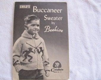 Child's Buccaneer Sweater Pattern by Beehive (sizes 2, 4 and 6) / Chieftain Series No. 19 / Dueling pirate cardigan pattern / pirate sweater