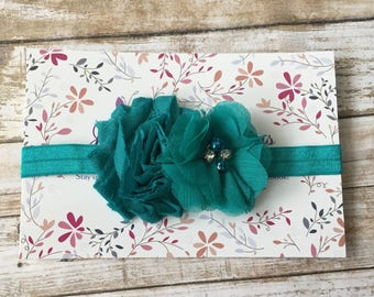 Teal Baby Headband/Baby Headband/Newborn Headband/Flower Headband/Baby Girl Headbands/Baby Bows/Hair Bow/Girls Headband/Toddler Headband