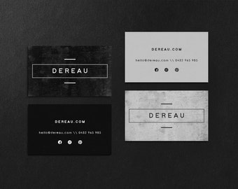Dereau • Premade Minimalist Concrete Cement Business Card Design Branding