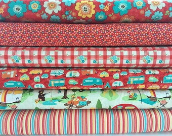 Road Trip Bundle in Red from Riley Blake, 6 Fabrics