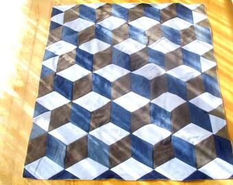 Denim tumbling blocks quilt, cube quilt, handmade blanket