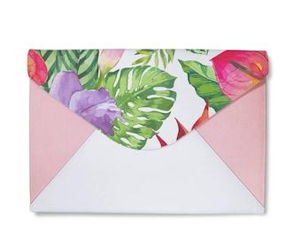 Summer tropical pink clutch bag, envelope clutch, leather handbag, marble clutch bag,macbook sleeve 13,laptop 13 sleeve,macbook 13 case