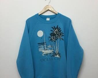 Vintage 90s Distressed Ocean City Crewneck Sweatshirt/Cotton Blend/Turquoise/Size M