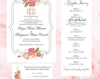 Wedding Invitation Package - Floral Brackets - Wedding Invite, RSVP, Itinerary