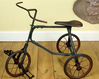 1950s child's metal tricycle - mid-century children's tricycle - antique small metal tricycle - vintage children's toys - vintage bike